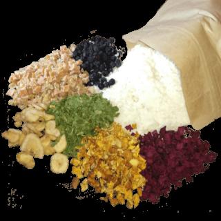 Du wählst für deine Wunschtüte die getrockneten Zutaten, wir mischen deinen individuellen Gemüse und Obst Mix, besonders geeignet für Barf und Fleisch Pur